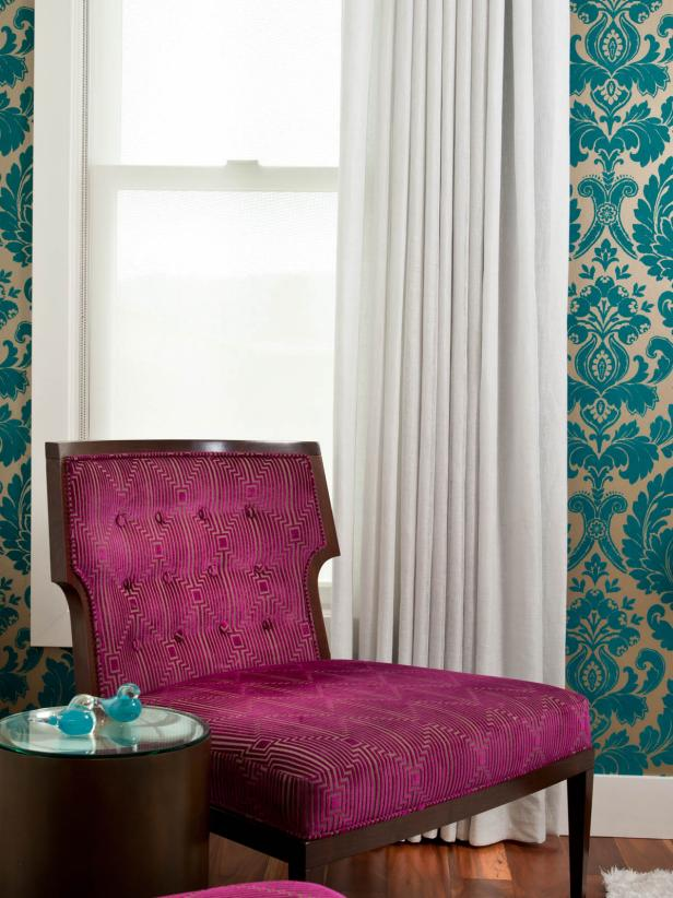 Hot Pink Chair and Teal Damask Wallpaper