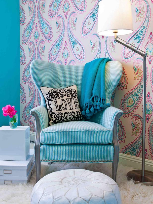 tween bedroom with vintage chair and leather pouf hgtv 17604 | 1405368386199