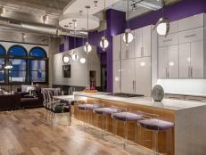 Quartz Kitchen Island in Purple, Contemporary Kitchen