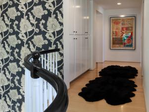 Black Faux Fur Rug in Hallway With Black Wallpaper