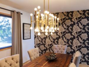 Eclectic Gold Chandelier with Black and White Wall