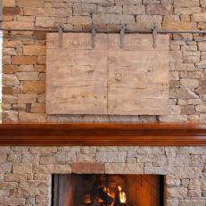 Rustic Brick Fireplace in Traditional Living Room