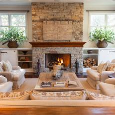 Traditional Living Room With Stone Fireplace