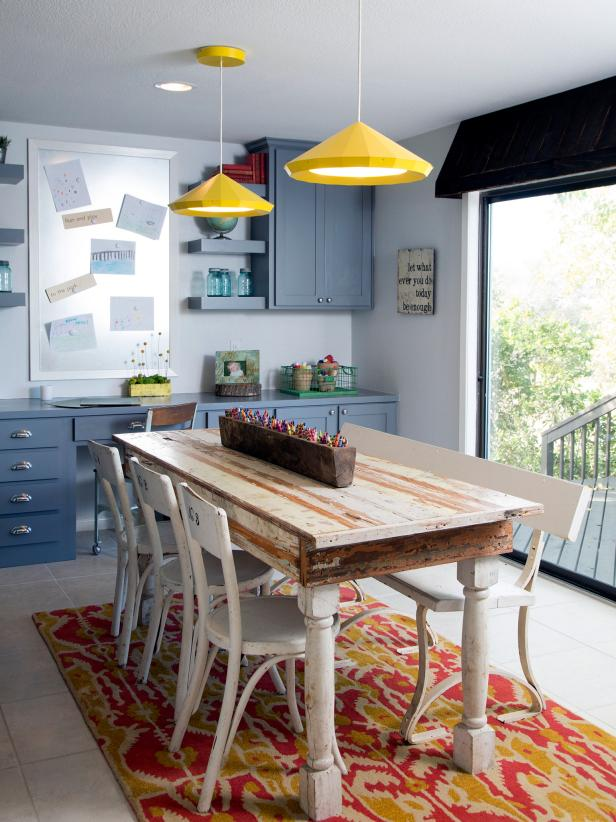 Craft Room With Yellow Pendants, Blue Cabinets & Reclaimed Wood Table