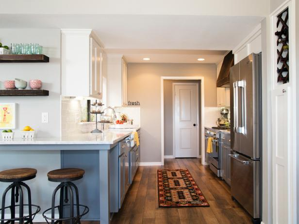 Kitchen With Gray and White Cabinetry, White Counters & Breakfast Bar