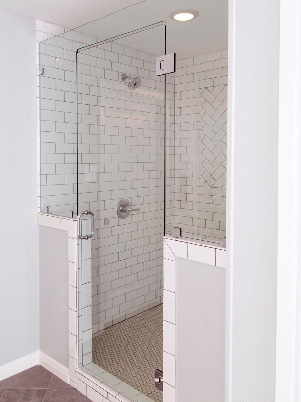 Glass Shower With White Tile