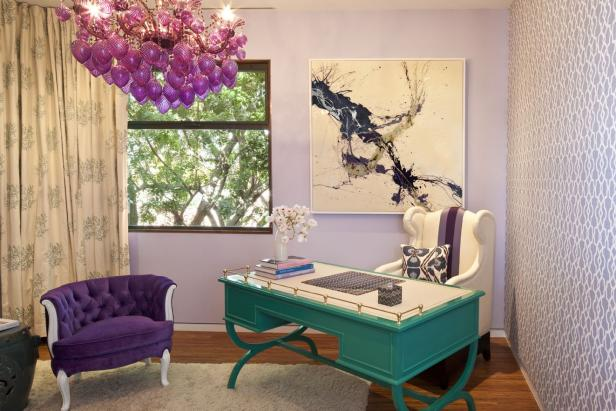 Whimsical Office in Shades of Violet and Turquoise
