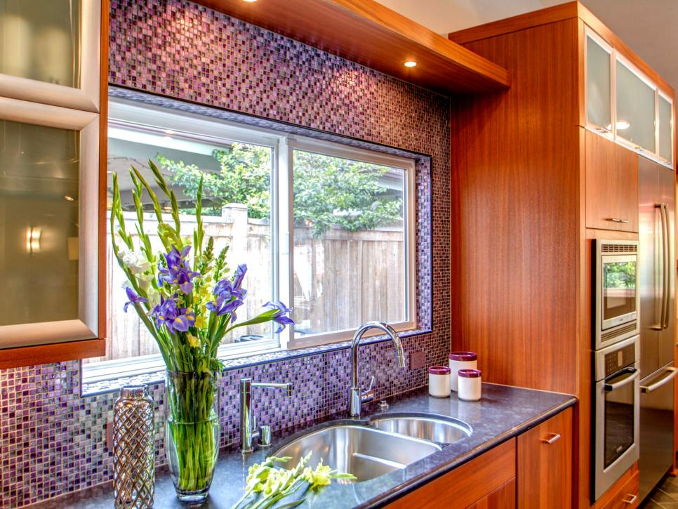 Contemporary Kitchen With Multicolored Mosaic-Tile Accent Wall