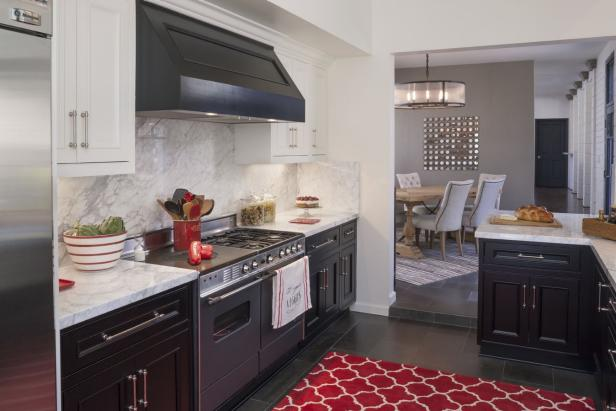 Black and White Kitchen With Red Accents