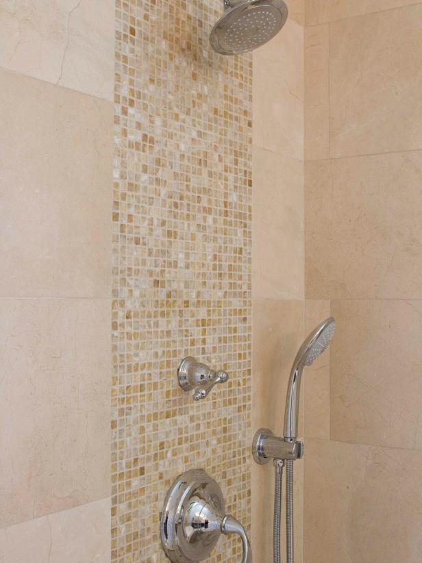 Mosaic Tile Detail In Neutral Bathroom Shower Hgtv