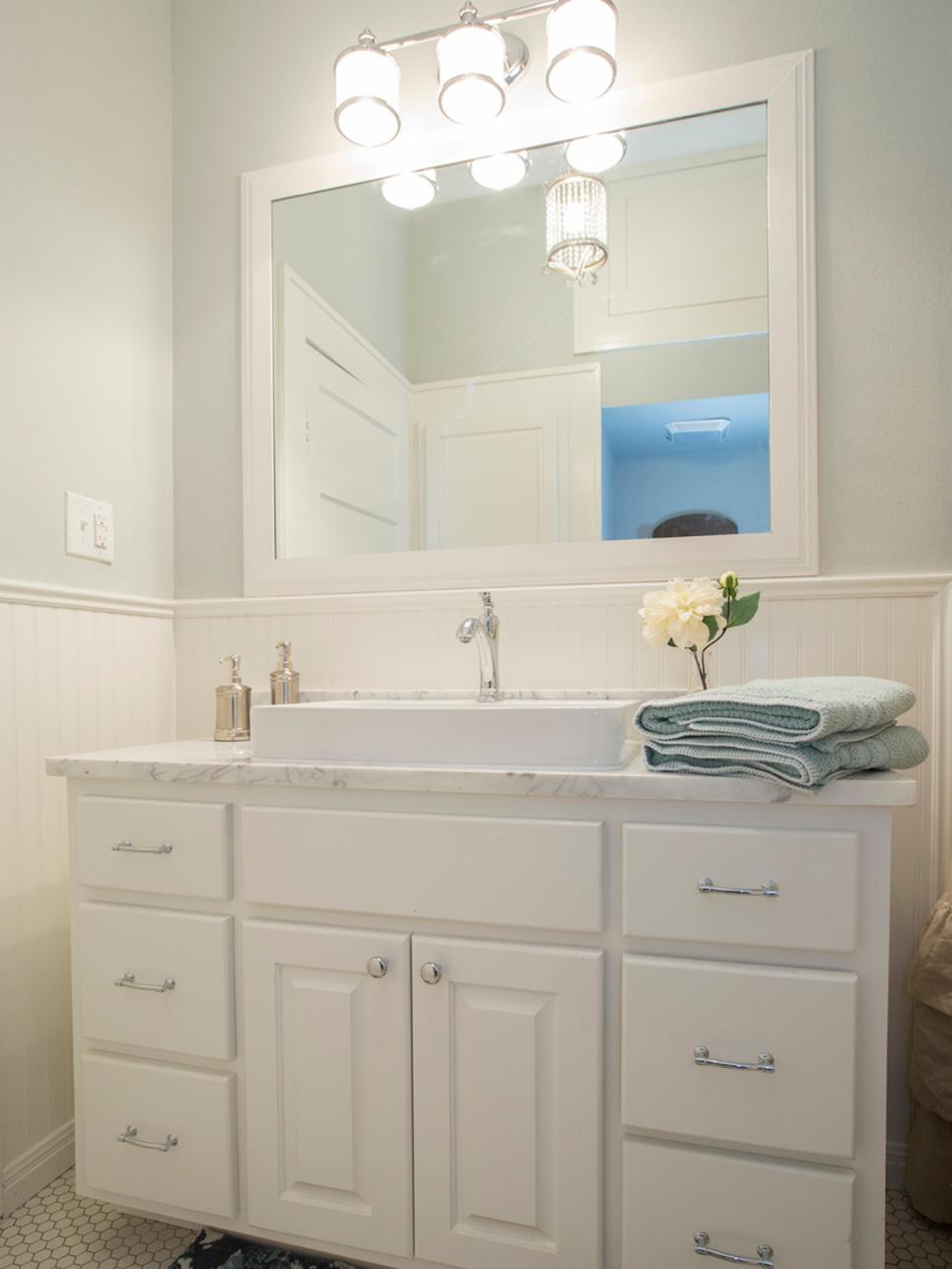 Beadboard Bathroom With White Vanity And Trough Sink Hgtv