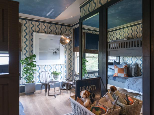 Bunk Beds In Traditional, Wallpapered Boys Bedroom