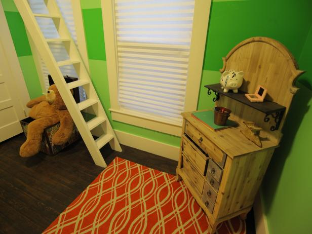 Green Girl's Room With Small Vintage Dresser