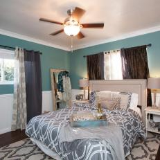 Mixed Patterns & Textiles in Transitional Master Bedroom