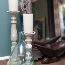 Sea Glass Vase & Distressed Candlesticks