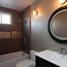 Neutral Contemporary Bathroom With Brown Tile Shower
