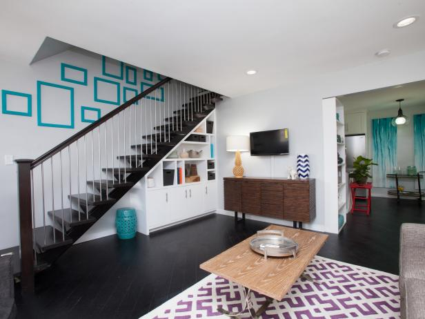 After: Flipping the Block Living Room With Turquoise Accents