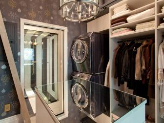Walk-In Closet With Mirrored Tabletop and Shower Entry
