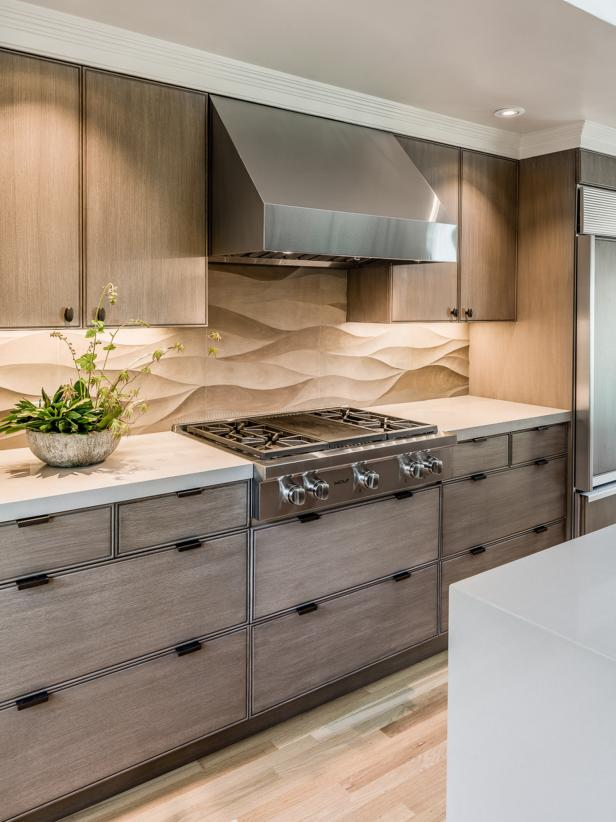 Contemporary Neutral Kitchen With Limestone Backsplash   HGTV