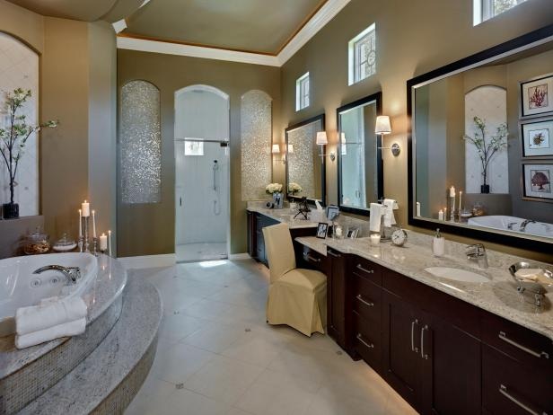 Large Bathroom With White Granite Countertops