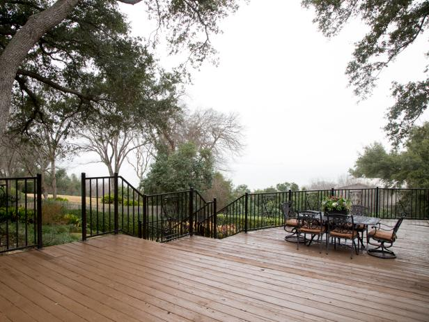 Wood Deck With Iron Railing