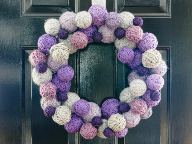 Purple Yarn Wreath