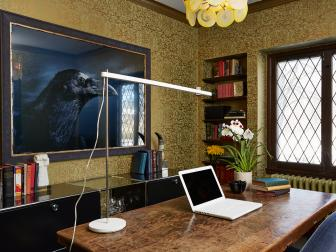 Gold Wallpaper Gleams in Eclectic Home Office