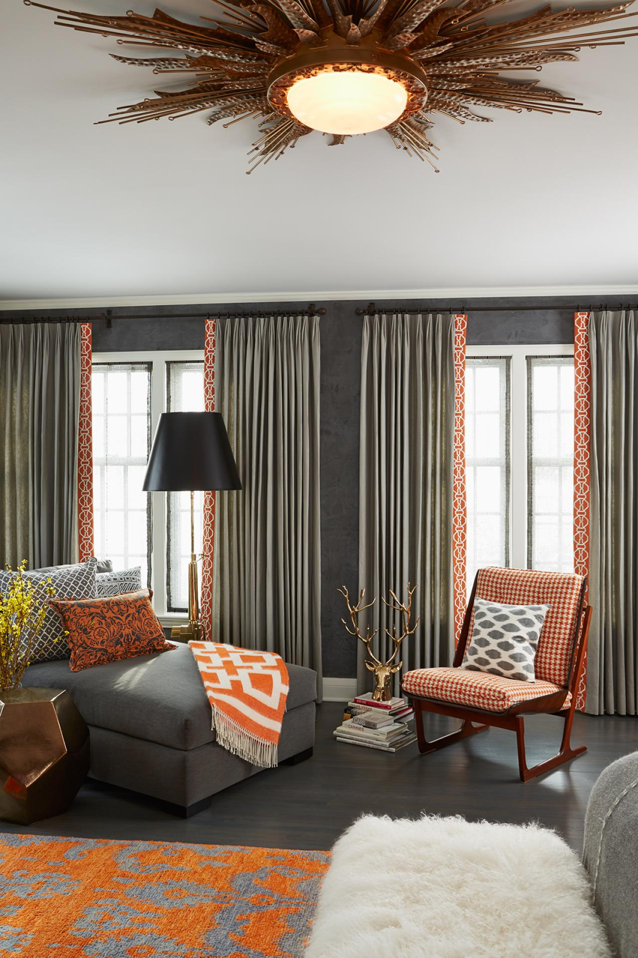 Eclectic Gray  Bedroom With Fresh Orange Accents HGTV