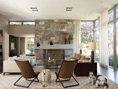 Stone Fireplace Anchors Contemporary Living Room