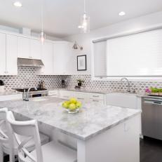 White Transitional Kitchen With Gray Diamond Backsplash