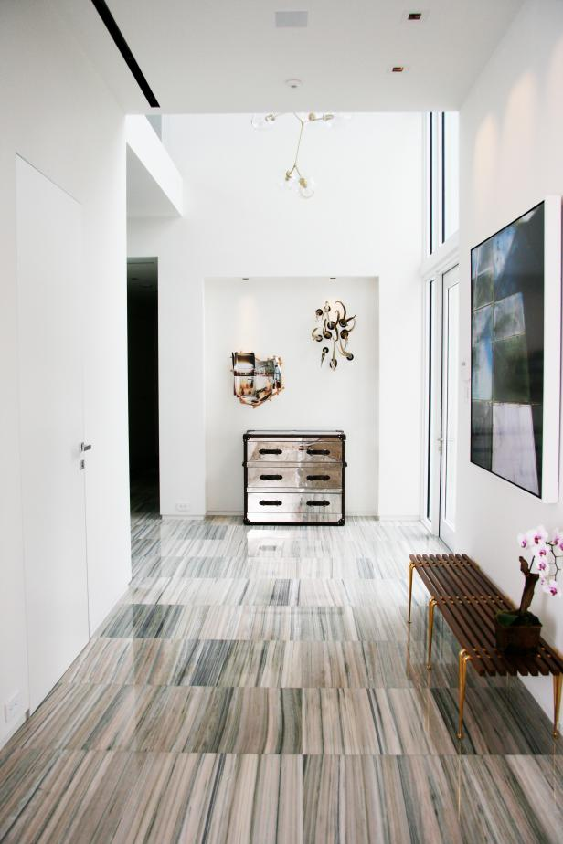 White Modern Hallway With Stone Tile Floors
