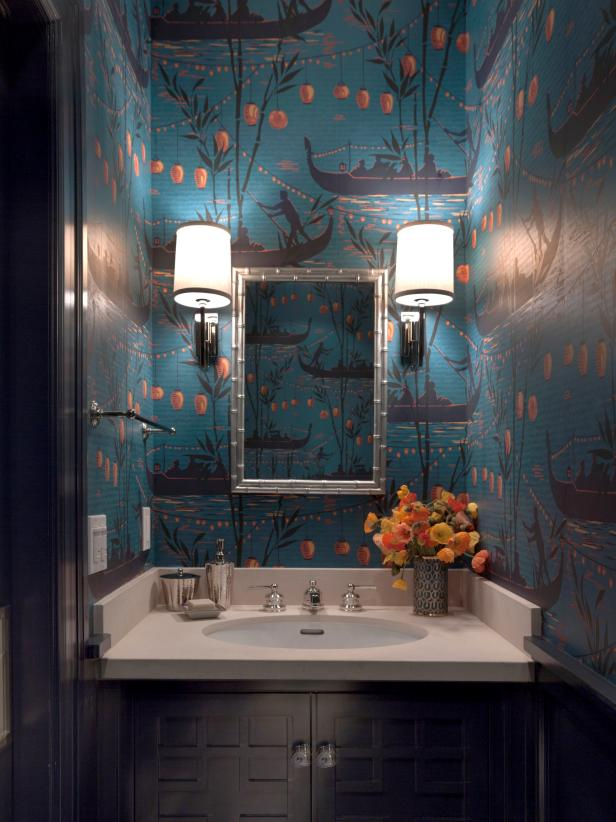 Small Bathroom With Bold Asian-Inspired Wallpaper, Sconces