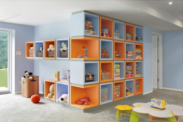 Multicolored Playroom Cubbies