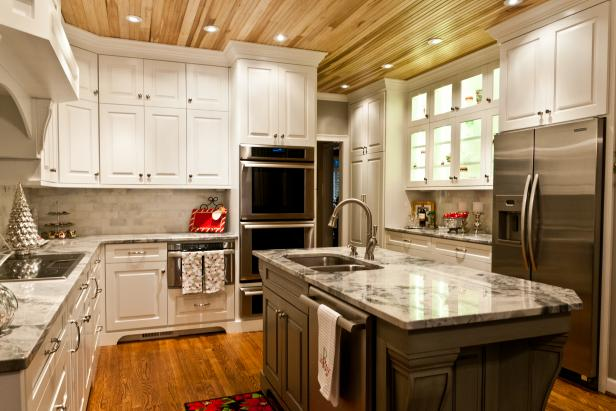 Transitional White Kitchen With Natural Wood Plank Ceiling