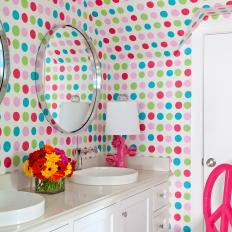 Multicolored Polka Dot Transitional Kid's Bathroom