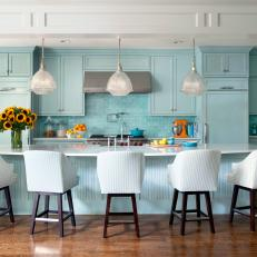 Transitional Blue Open Plan Kitchen With Barstools