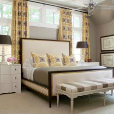 Gray and White Contemporary Bedroom With Yellow Curtains