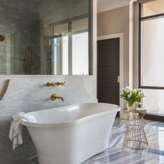 Neutral Spa Bathroom With Soaking Tub