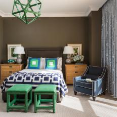 Brown Transitional Bedroom With Graphic Print Bedding