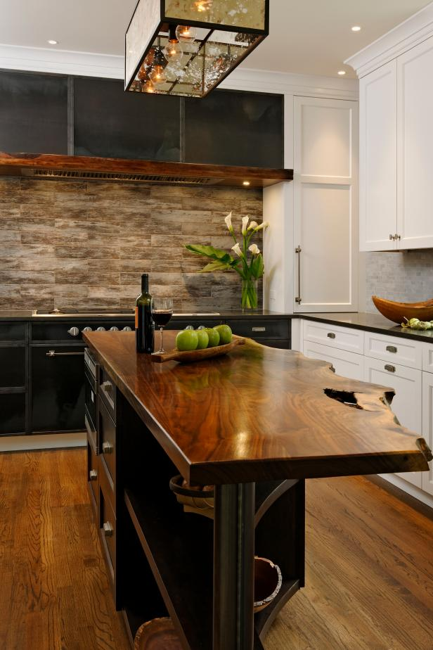 Kitchen Island With Rustic Live Edge Walnut Countertop Hgtv