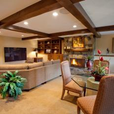 Traditional Neutral Living Room With Exposed Wood Beams