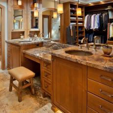 Craftsman-Style Master Bathroom With Large Double Vanity