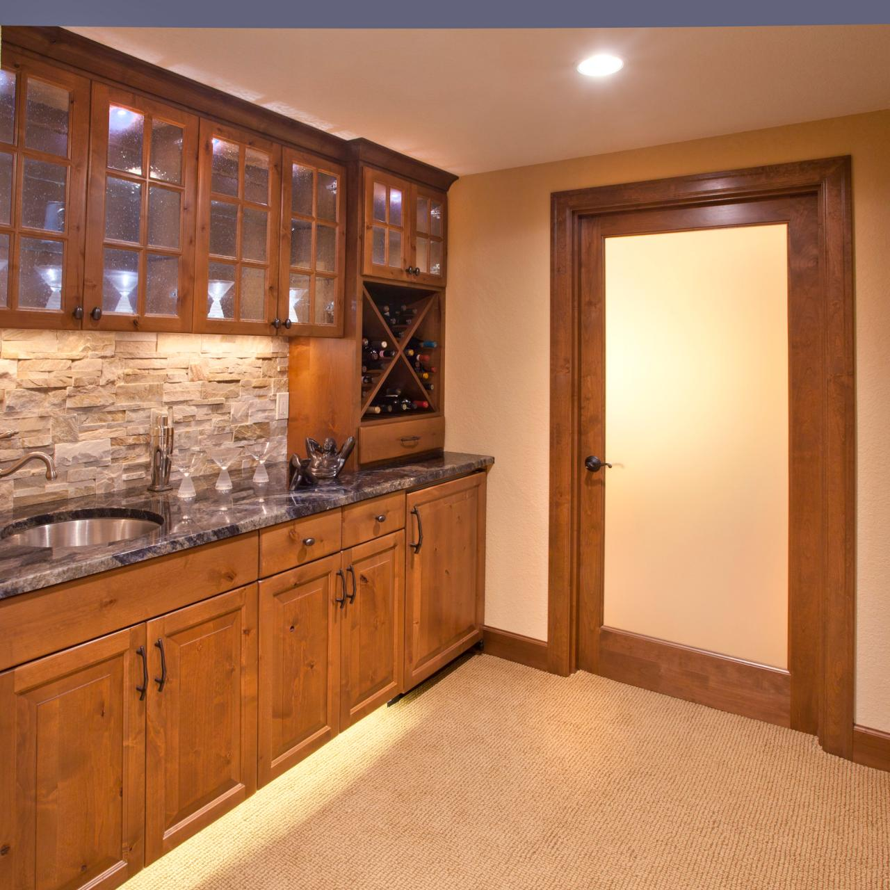 Kitchen With Frosted Glass Cabinets