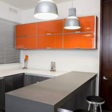 Modern Kitchen With Orange Cabinets