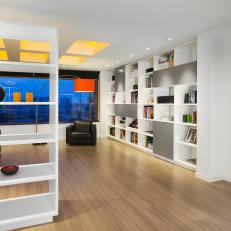 Living Room With Contemporary Shelving
