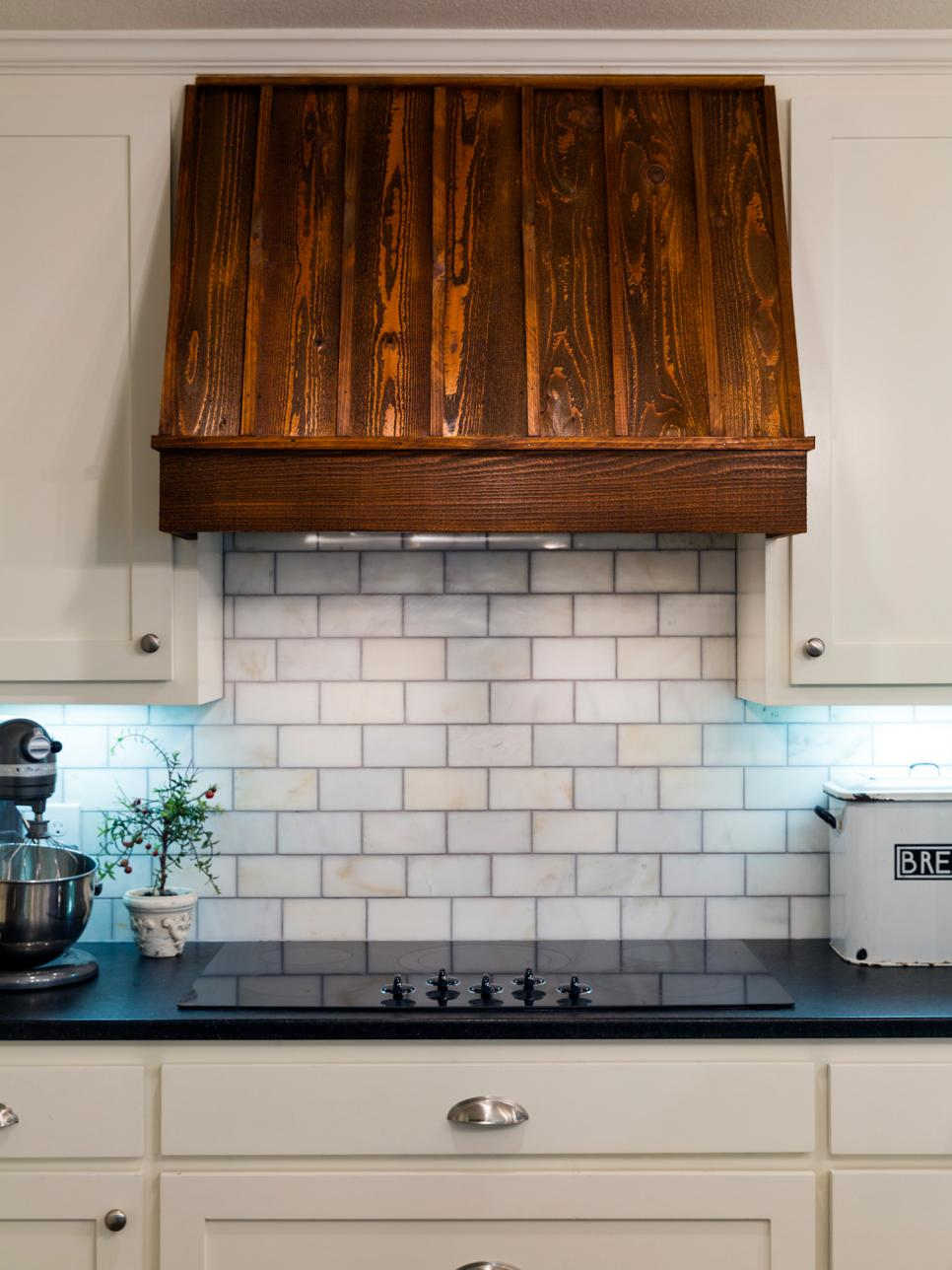 Wooden Range Hood Above Electric Stovetop