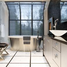 Contemporary Bathroom With Silver Tub