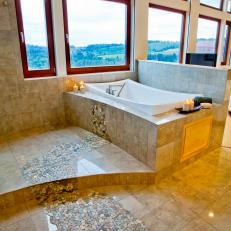 Modern Neutral Marble Tile Bathroom With Spilling Water Mosaic