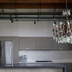 Crystal Chandelier Adds Warmth and History to Modern Kitchen