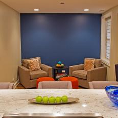 Blue Accent Wall Adds Life to Seating Area